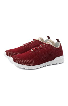 Женские текстильные кроссовки KITON бордового цвета, арт. DSSFITSN00809 | Фото 1 (Материал внутренний: Натуральная кожа; Материал внешний: Текстиль; Подошва: Платформа)