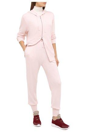 Женские текстильные кроссовки KITON бордового цвета, арт. DSSFITSN00809 | Фото 2 (Материал внутренний: Натуральная кожа; Материал внешний: Текстиль; Подошва: Платформа)