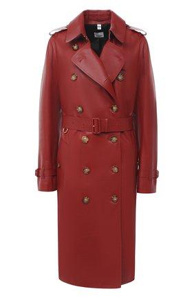 Женский кожаный тренч BURBERRY бордового цвета, арт. 8030240   Фото 1