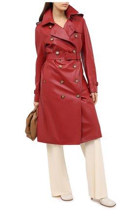 Женский кожаный тренч BURBERRY бордового цвета, арт. 8030240   Фото 2