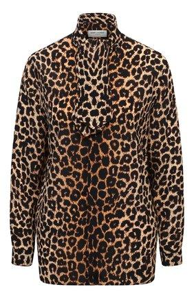 Женская шелковая блузка SAINT LAURENT леопардового цвета, арт. 631540/Y2B09 | Фото 1