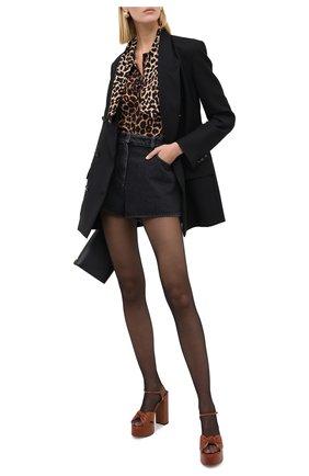 Женская шелковая блузка SAINT LAURENT леопардового цвета, арт. 631540/Y2B09 | Фото 2