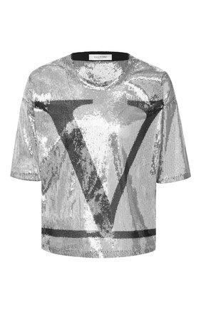 Женская футболка с пайетками VALENTINO серебряного цвета, арт. UB3MG08D5NF | Фото 1