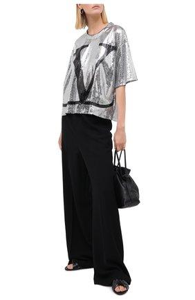 Женская футболка с пайетками VALENTINO серебряного цвета, арт. UB3MG08D5NF | Фото 2