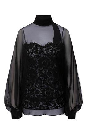 Женская шелковая блузка VALENTINO черного цвета, арт. UB3AE4X02UP   Фото 1