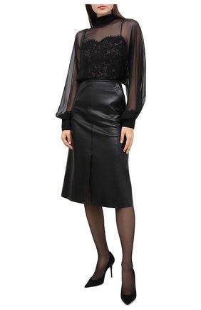 Женская шелковая блузка VALENTINO черного цвета, арт. UB3AE4X02UP   Фото 2