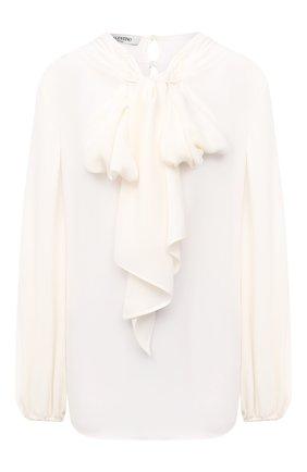 Женская шелковая блузка VALENTINO кремвого цвета, арт. UB3AE4X71MH   Фото 1