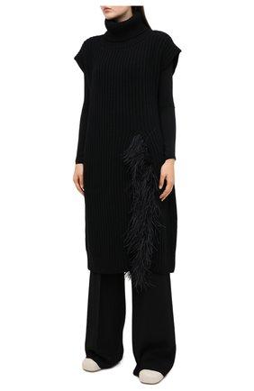 Женский жилет из шерсти и кашемира VALENTINO черного цвета, арт. UB3KCB495QK | Фото 3