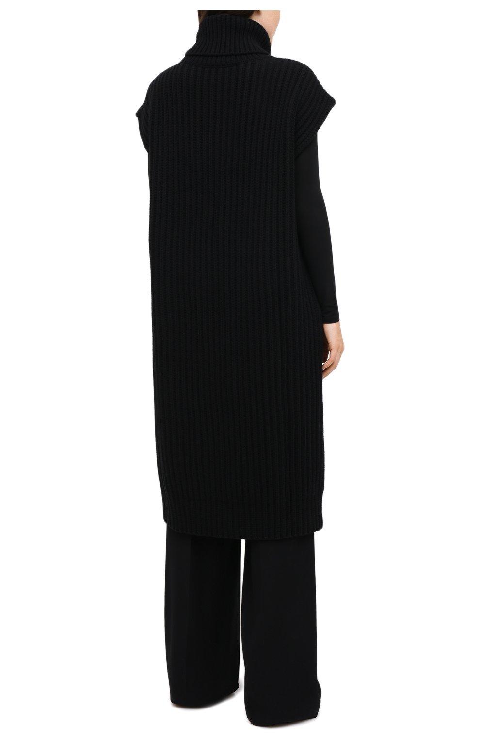 Женский жилет из шерсти и кашемира VALENTINO черного цвета, арт. UB3KCB495QK | Фото 4