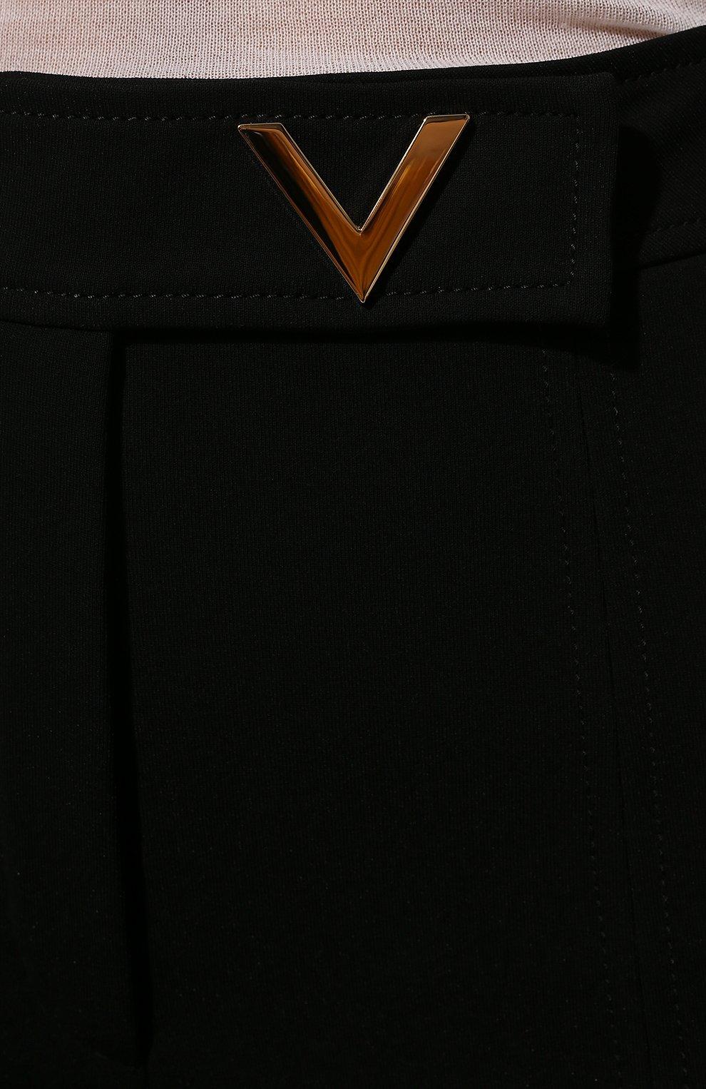 Женские брюки из вискозы VALENTINO черного цвета, арт. UB3MD01L58K | Фото 5