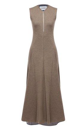 Женское шерстяное платье JIL SANDER коричневого цвета, арт. JSPR500589-WR206008 | Фото 1