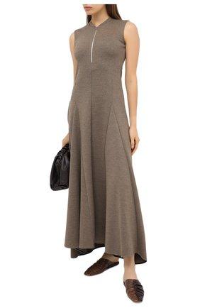 Женское шерстяное платье JIL SANDER коричневого цвета, арт. JSPR500589-WR206008 | Фото 2