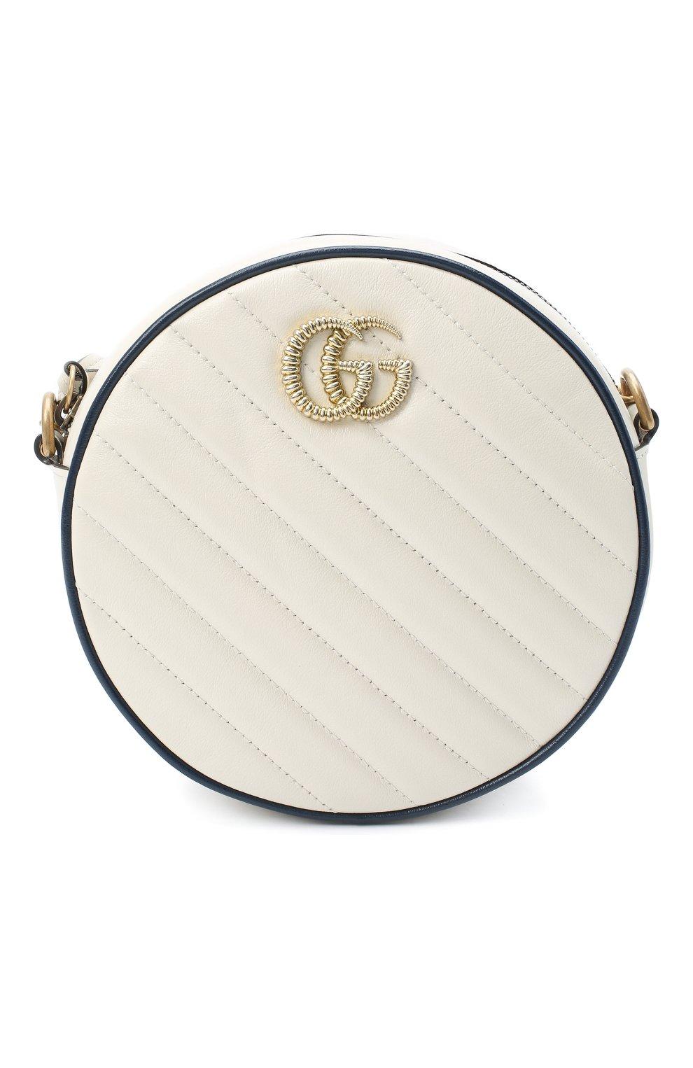 Женская сумка gg marmont mini GUCCI белого цвета, арт. 550154/00LFX | Фото 1
