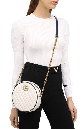 Женская сумка gg marmont mini GUCCI белого цвета, арт. 550154/00LFX | Фото 2