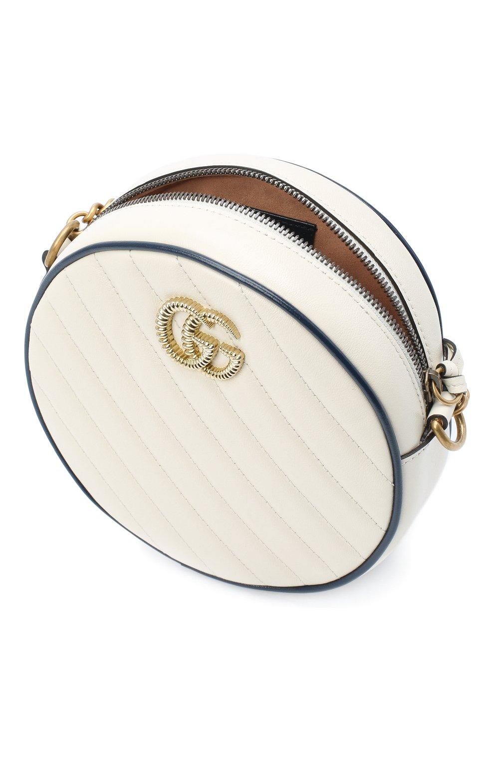 Женская сумка gg marmont mini GUCCI белого цвета, арт. 550154/00LFX | Фото 4