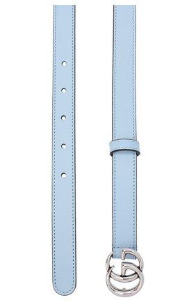Женский кожаный ремень GUCCI голубого цвета, арт. 409417/AP00P   Фото 2