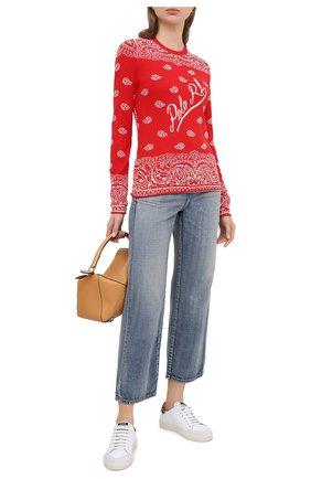 Женская пуловер из хлопка и шерсти POLO RALPH LAUREN красного цвета, арт. 211801511 | Фото 2