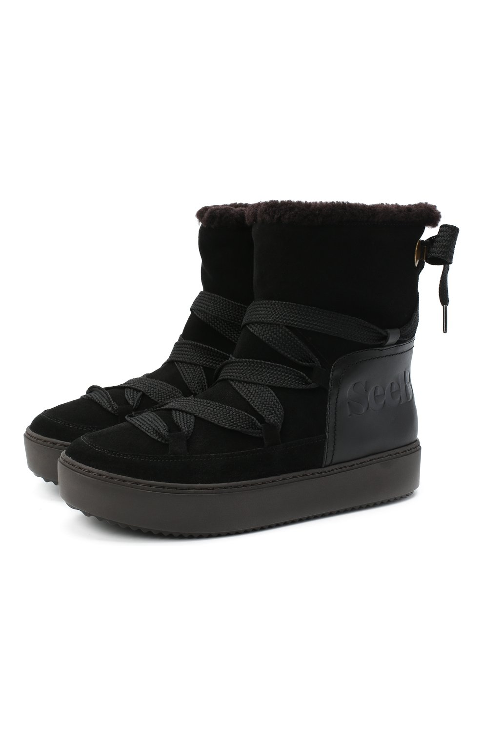 Женские замшевые ботинки SEE BY CHLOÉ черного цвета, арт. SB35151A/12230 | Фото 1