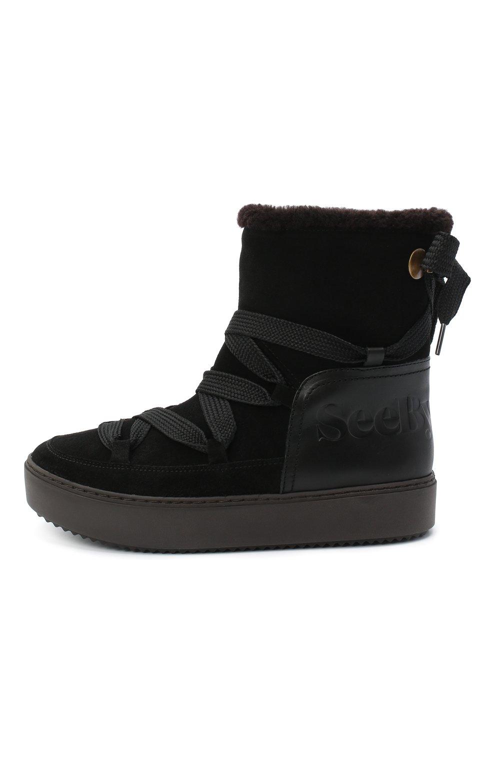 Женские замшевые ботинки SEE BY CHLOÉ черного цвета, арт. SB35151A/12230 | Фото 3