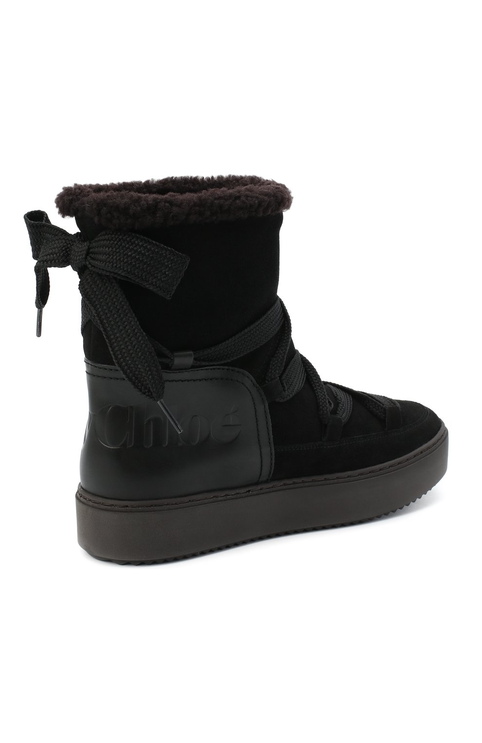 Женские замшевые ботинки SEE BY CHLOÉ черного цвета, арт. SB35151A/12230 | Фото 4