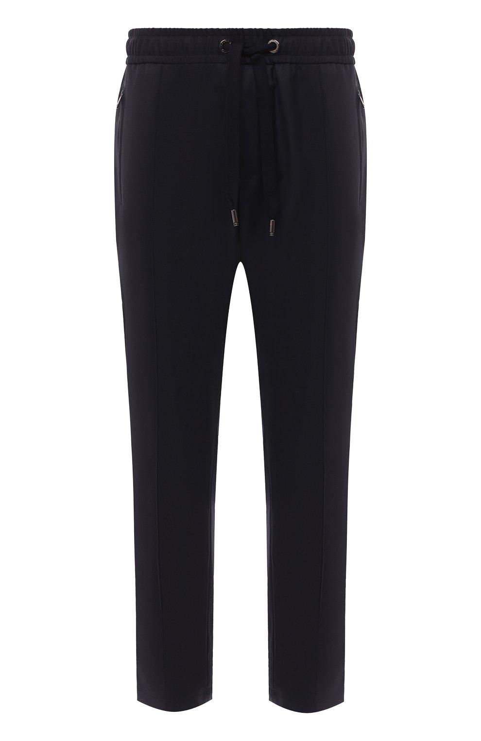 Мужские шерстяные брюки DOLCE & GABBANA синего цвета, арт. GYACET/FU2Z9   Фото 1 (Материал внешний: Шерсть; Длина (брюки, джинсы): Стандартные; Случай: Повседневный; Стили: Кэжуэл)