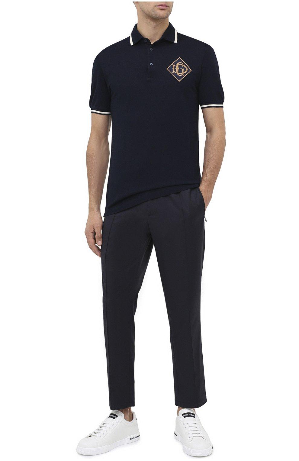 Мужские шерстяные брюки DOLCE & GABBANA синего цвета, арт. GYACET/FU2Z9   Фото 2 (Материал внешний: Шерсть; Длина (брюки, джинсы): Стандартные; Случай: Повседневный; Стили: Кэжуэл)