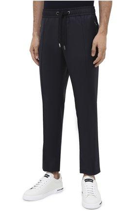 Мужские шерстяные брюки DOLCE & GABBANA синего цвета, арт. GYACET/FU2Z9   Фото 3 (Материал внешний: Шерсть; Длина (брюки, джинсы): Стандартные; Случай: Повседневный; Стили: Кэжуэл)