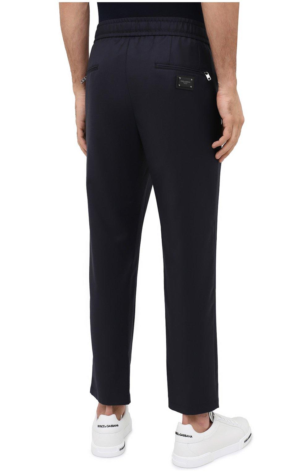 Мужские шерстяные брюки DOLCE & GABBANA синего цвета, арт. GYACET/FU2Z9   Фото 4 (Материал внешний: Шерсть; Длина (брюки, джинсы): Стандартные; Случай: Повседневный; Стили: Кэжуэл)