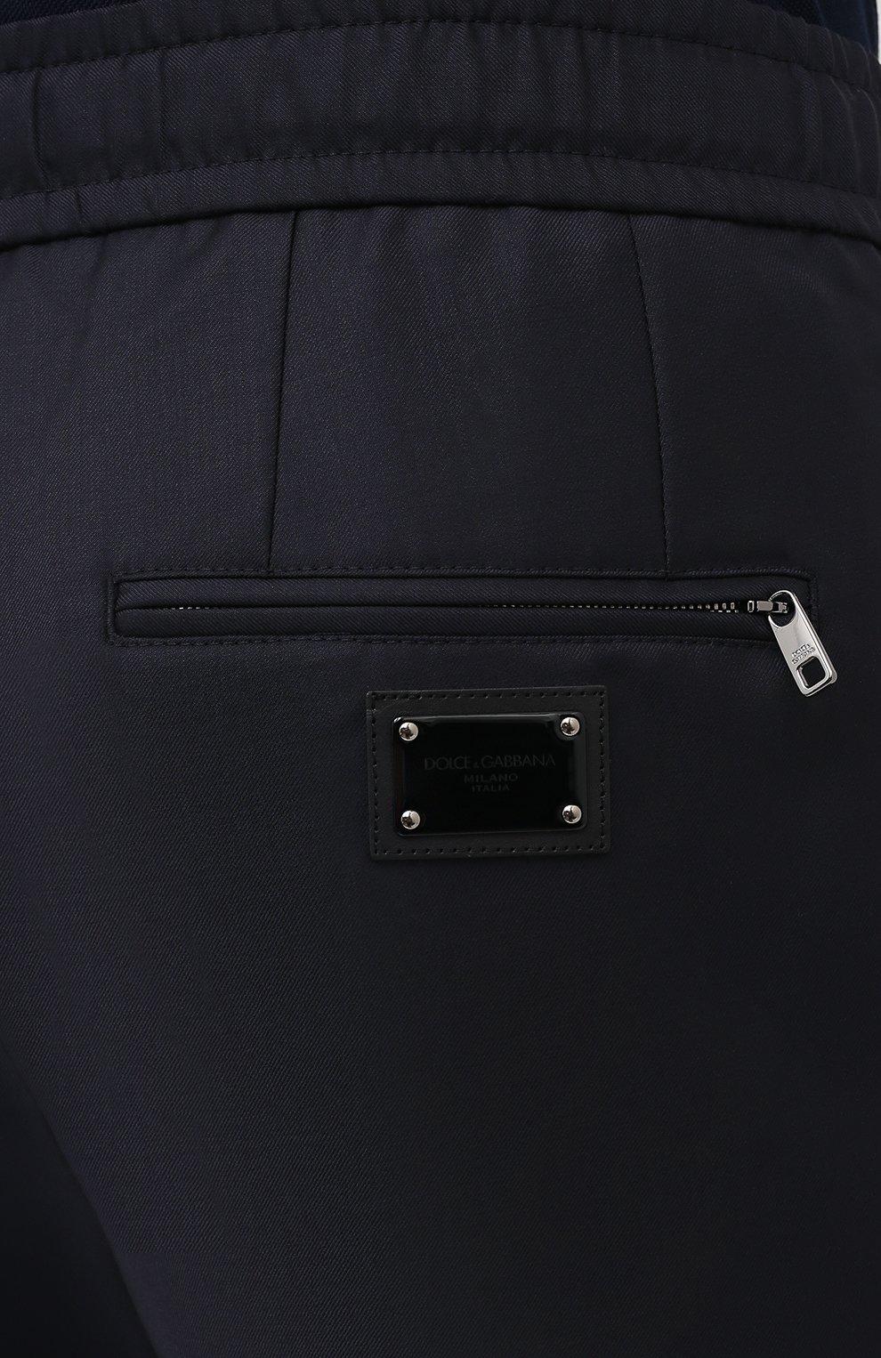 Мужские шерстяные брюки DOLCE & GABBANA синего цвета, арт. GYACET/FU2Z9   Фото 6 (Материал внешний: Шерсть; Длина (брюки, джинсы): Стандартные; Случай: Повседневный; Стили: Кэжуэл)