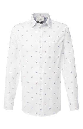 Мужская хлопковая рубашка GUCCI белого цвета, арт. 625883/ZAEDI | Фото 1