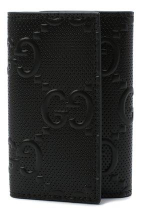 Мужская кожаный футляр для ключей GUCCI черного цвета, арт. 625565/1W3AN | Фото 1 (Материал: Кожа)