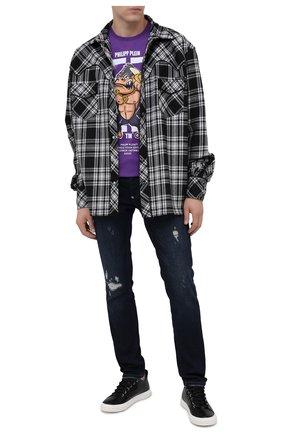 Мужская хлопковая футболка PHILIPP PLEIN фиолетового цвета, арт. F20C MTK4555 PJY002N | Фото 2