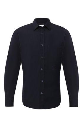 Мужская хлопковая рубашка BURBERRY темно-синего цвета, арт. 8029074 | Фото 1