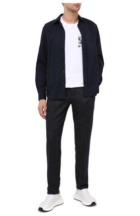 Мужская хлопковая рубашка BURBERRY темно-синего цвета, арт. 8029074 | Фото 2