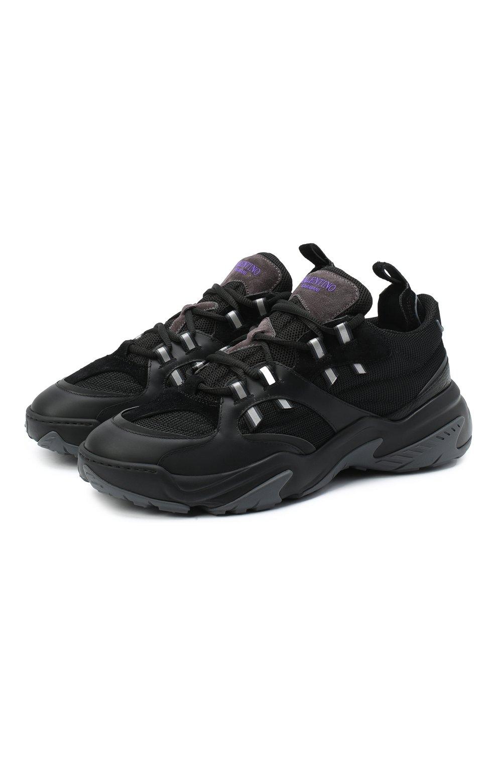 Мужские комбинированные кроссовки afterdusk VALENTINO черного цвета, арт. UY2S0D52/EIR   Фото 1 (Материал внешний: Текстиль; Стили: Гранж; Материал внутренний: Текстиль; Подошва: Массивная)