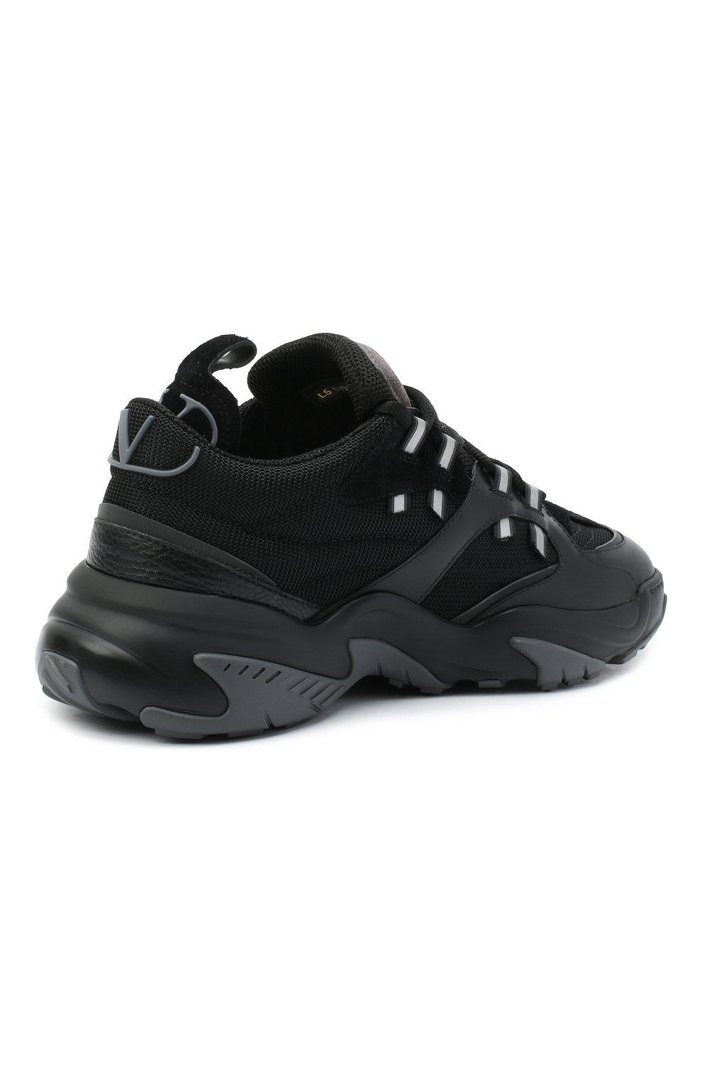 Мужские комбинированные кроссовки afterdusk VALENTINO черного цвета, арт. UY2S0D52/EIR   Фото 4 (Материал внешний: Текстиль; Стили: Гранж; Материал внутренний: Текстиль; Подошва: Массивная)