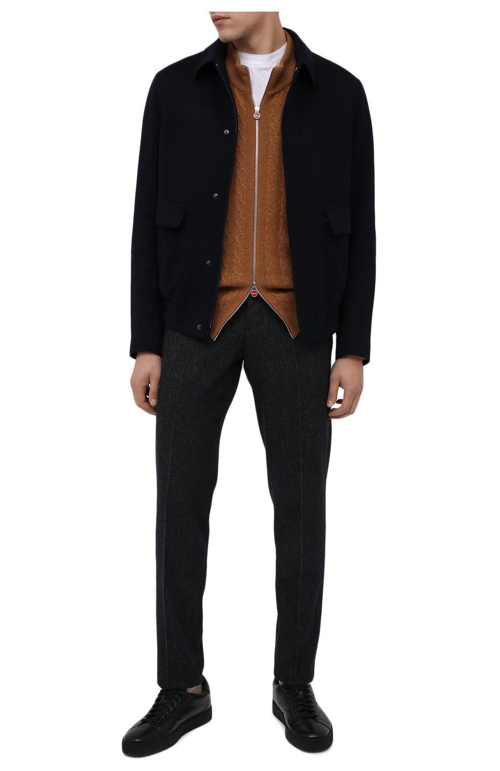 Мужские кожаные кеды SANTONI черного цвета, арт. MBGL20850NE0RSSSN01 | Фото 2 (Материал внутренний: Натуральная кожа; Подошва: Массивная)