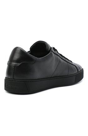 Мужские кожаные кеды SANTONI черного цвета, арт. MBGL20850NE0RSSSN01 | Фото 4 (Материал внутренний: Натуральная кожа; Подошва: Массивная)