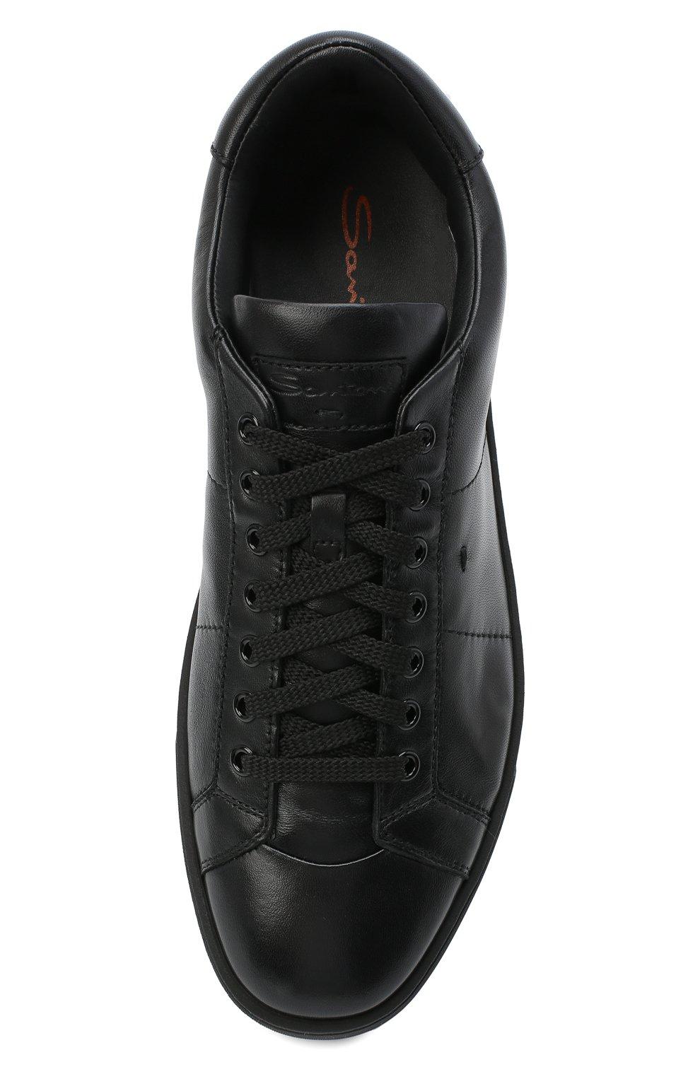 Мужские кожаные кеды SANTONI черного цвета, арт. MBGL20850NE0RSSSN01 | Фото 5 (Материал внутренний: Натуральная кожа; Подошва: Массивная)
