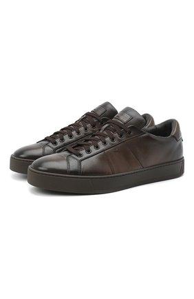 Мужские кожаные кеды SANTONI темно-коричневого цвета, арт. MBGL20850TMMRG0TT60 | Фото 1