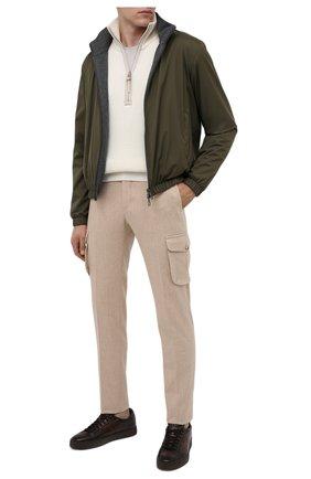 Мужские кожаные кеды SANTONI темно-коричневого цвета, арт. MBGL20850TMMRG0TT60 | Фото 2