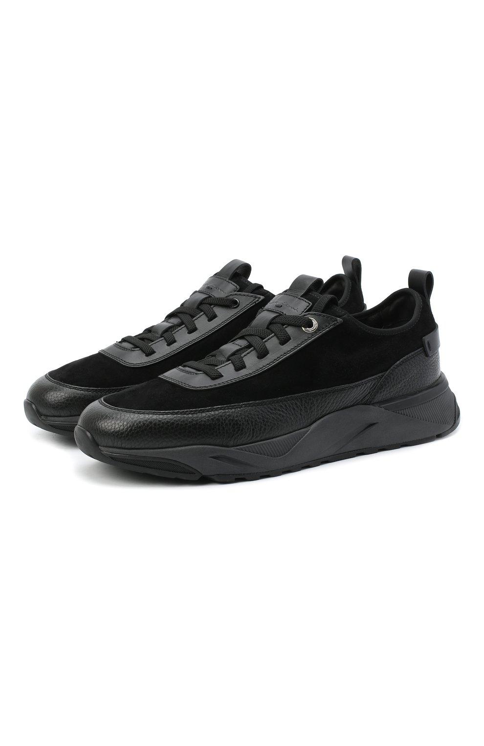 Мужские комбинированные кроссовки SANTONI черного цвета, арт. MBI021323ANERVBRN01 | Фото 1 (Материал внешний: Кожа; Материал внутренний: Натуральная кожа, Текстиль; Стили: Классический; Подошва: Массивная)