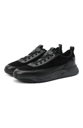 Мужские комбинированные кроссовки SANTONI черного цвета, арт. MBI021323ANERVBRN01 | Фото 1