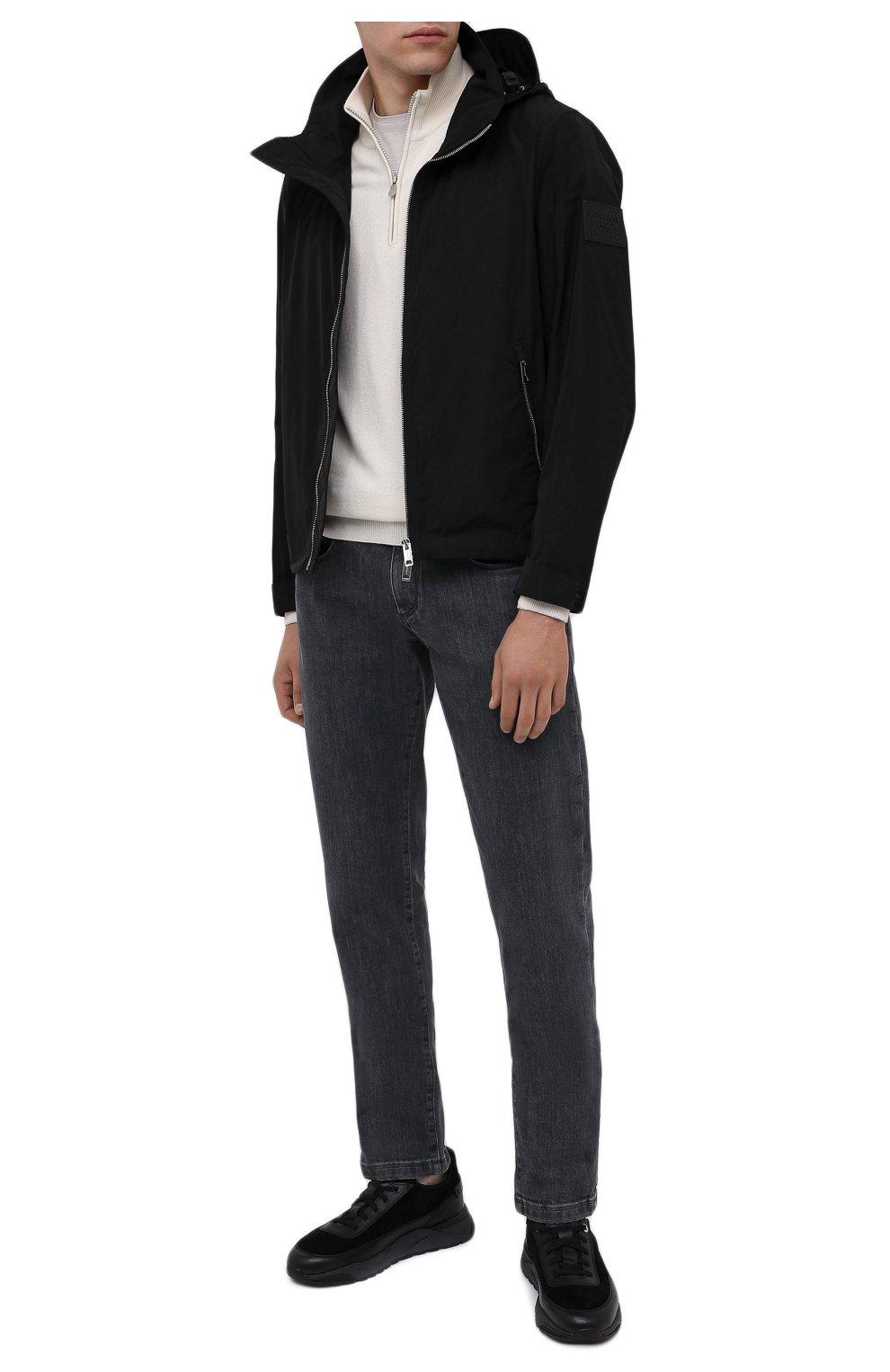 Мужские комбинированные кроссовки SANTONI черного цвета, арт. MBI021323ANERVBRN01 | Фото 2 (Материал внешний: Кожа; Материал внутренний: Натуральная кожа, Текстиль; Стили: Классический; Подошва: Массивная)