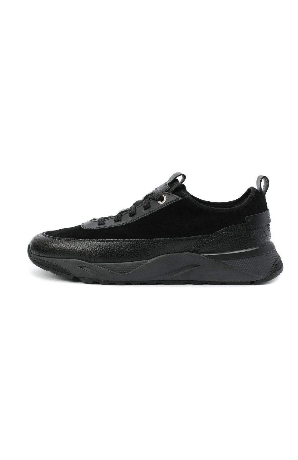 Мужские комбинированные кроссовки SANTONI черного цвета, арт. MBI021323ANERVBRN01 | Фото 3 (Материал внешний: Кожа; Материал внутренний: Натуральная кожа, Текстиль; Стили: Классический; Подошва: Массивная)