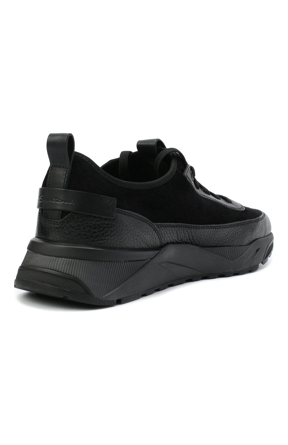 Мужские комбинированные кроссовки SANTONI черного цвета, арт. MBI021323ANERVBRN01 | Фото 4 (Материал внешний: Кожа; Материал внутренний: Натуральная кожа, Текстиль; Стили: Классический; Подошва: Массивная)