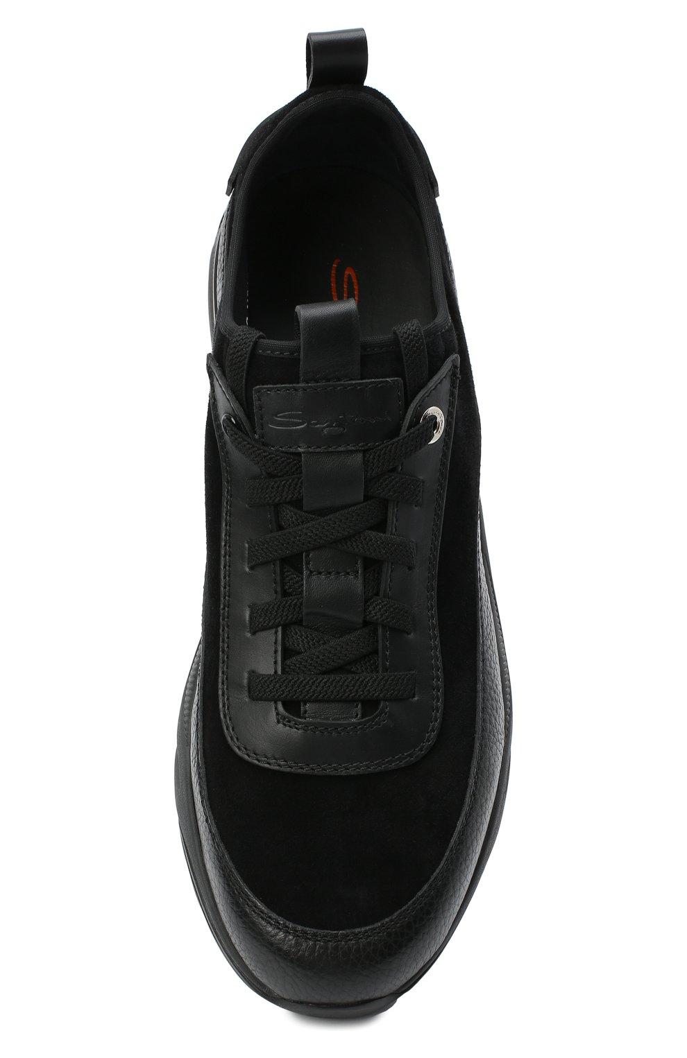 Мужские комбинированные кроссовки SANTONI черного цвета, арт. MBI021323ANERVBRN01 | Фото 5 (Материал внешний: Кожа; Материал внутренний: Натуральная кожа, Текстиль; Стили: Классический; Подошва: Массивная)