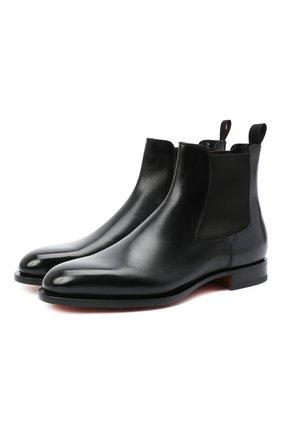 Мужские кожаные челси SANTONI черного цвета, арт. MCC016749MC3HVVDN01   Фото 1