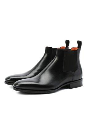 Мужские кожаные челси SANTONI черного цвета, арт. MCLE17027BI2IVVDN01 | Фото 1