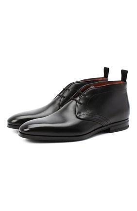Мужские кожаные ботинки SANTONI черного цвета, арт. MCLE17320SI1ESCSN01 | Фото 1
